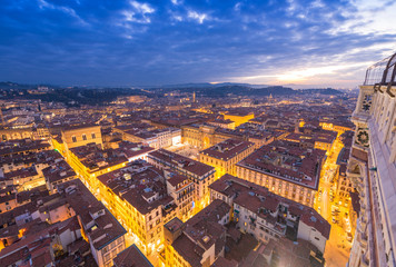 Wonderful view of Florence at sunset times. Aerial view from Cam