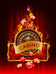 Casino background with chips, craps and roulette on fire.