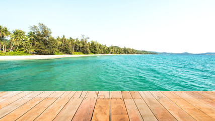 Wooden plank beside tropical beach at Koh Kood island,Thailand