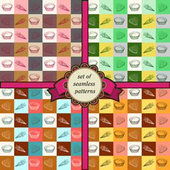 set of seamless geometric patterns with sweets-1
