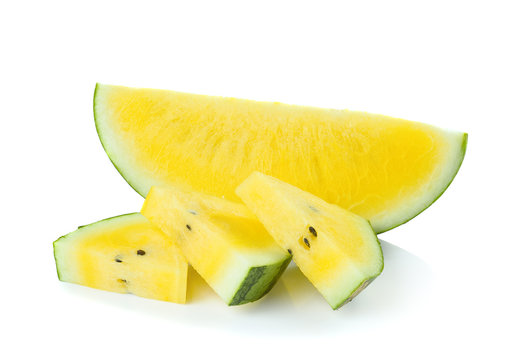Yellow watermelon  sliced on  white background