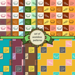 set of seamless geometric patterns with sweets-2