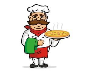 Italian chef serves pizza