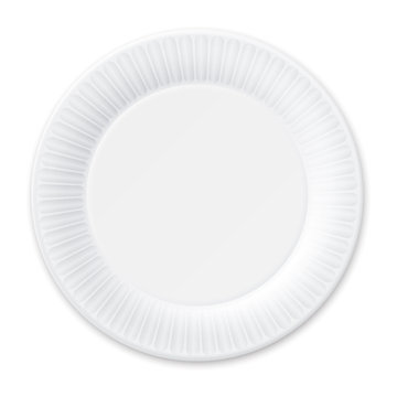 Disposable Paper Plate. Isolated on White.