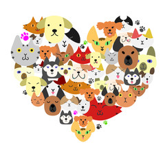 Dogs and cats face in heart-shape