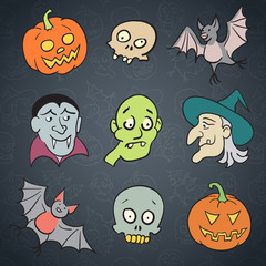 Halloween Cartoon Characters Set.
