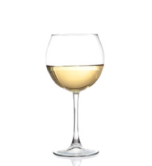 White wine bottle and two glasses. Isolated