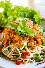 Thai spicy rice vermicelli salad
