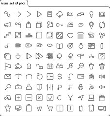vector contour set of web icons