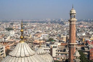 Stores à enrouleur Delhi Panorama of Delhi Jama Masjid Mosque minaret