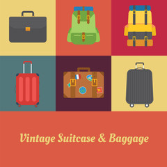 Suitcase, Luggage and Baggage in retro style