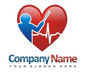 heart health clinic logo image vector