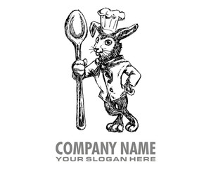 chef rabbit drawing sketch character image vector