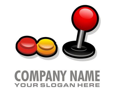 arcade game button logo image vector