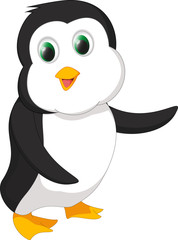 Deurstickers Sprookjeswereld cute penguin cartoon waving
