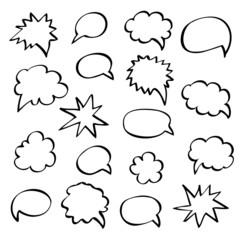 speech bubble hand drawn outline.