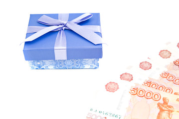 blue gift box and notes