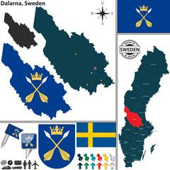 Map of Dalarna, Sweden
