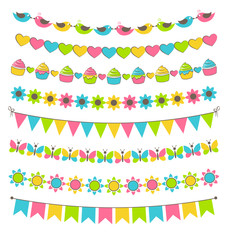 Set of multicolored flat buntings garlands flags isolated on whi