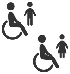 Disability man pictogram flat icon wc female male isolated on wh