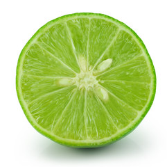 Half of lime citrus fruit isolated on white background with clip