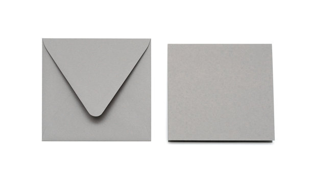 Gray envelope and card on white with shadow