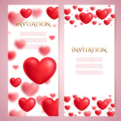 Romantic vector card, blurred hearts