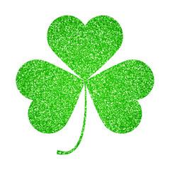 Saint Patricks Day symbol, shiny glitter shamrock leaf isolated on white