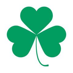 Saint Patricks Day symbol, shamrock leaf isolated on white