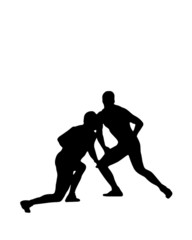 Silhouette wrestlers
