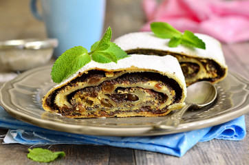 Poppy seed and cottage cheese strudel.