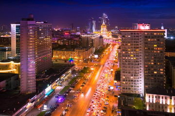Noviy Arbat and Moscow City night aerial panorama