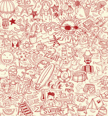 doodle Summer vacation, vector illustration.