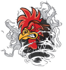 Cartoon Rooster Mascot Ripping out of Background