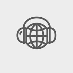 World music thin line icon