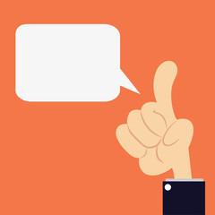 Speech bubble template design with hand