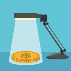 Saving money concept. stack of coins under lamp