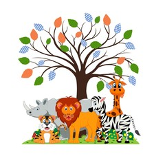 Lion, tiger, zebra, rhino and giraffe were playing under a tree