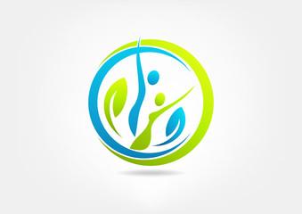 wellness center man and woman vector logo design