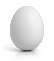 Chicken egg on white