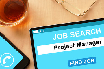Tablet with Project Manager  on job search site.