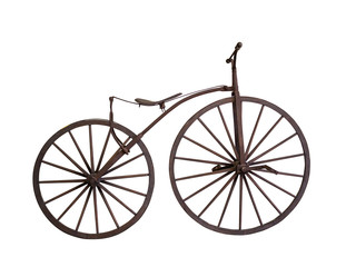 Old bicycle with wooden wheels isolated