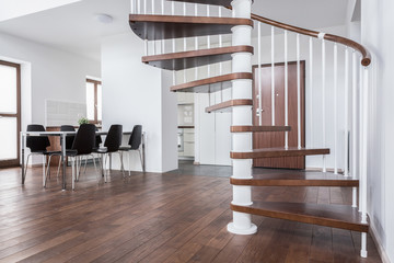 Wooden stairs in contemporary house