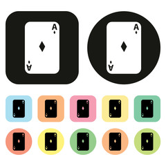 Ace. Playing cards. Gambling icon