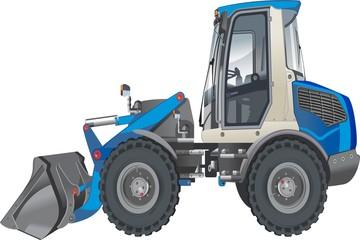 Blue vector tractor