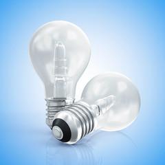 Modern Light Bulbs on gradient blue background