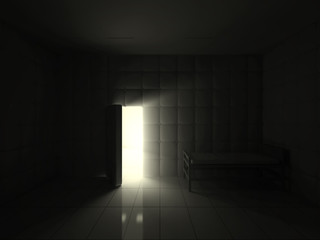 Mental Hospital Room Interior with Opened Door at Night. 3D Rendering