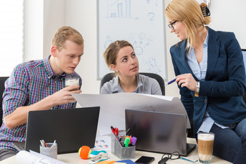 Office workers talking