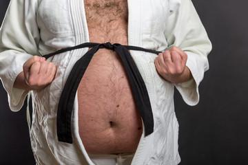 Fat karate fighter