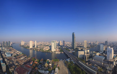 beautiful city scape from sky scrapper in heart of bangkok capit